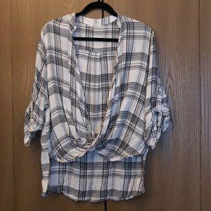 Plaid wrap front blouse